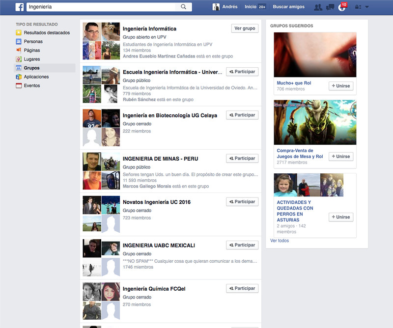 Grupos de Facebook búsqueda