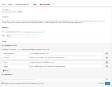 Canal youtube enlaces completos