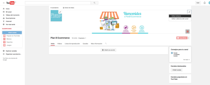 Canal youtube enlaces